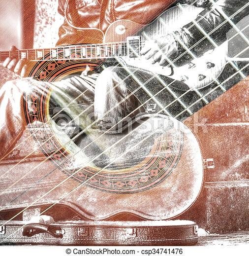 場合, ダブル, ギター プレーヤー, 開いた, さらされること - csp34741476