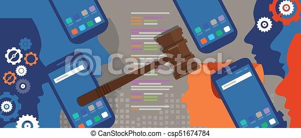 場合, 情報, 法廷, 正義, 技術, シンボル, デジタル, 法的, 犯罪, 木製である, 評決, インターネット, 小槌, 法律, ハンマー, オークション - csp51674784
