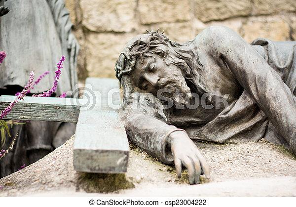 墓地, キリスト, 像, イエス・キリスト - csp23004222
