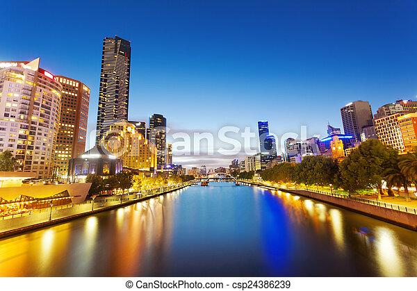 墨爾本, 河, 看法, yarra, 夜晚 - csp24386239
