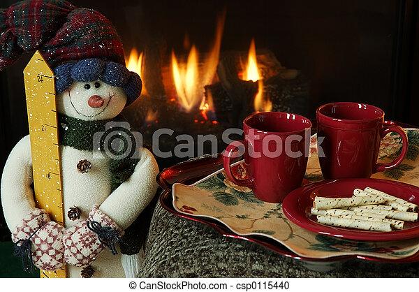 壁爐, 冬天, 溫暖 - csp0115440
