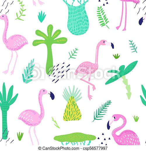 壁紙 かわいい 生地 フラミンゴ 夏 ペーパー パターン 幼稚 Decoration 包むこと Seamless イラスト Leaves トロピカル ベクトル やし 背景