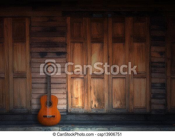 壁, ギター, 木, 古い, クラシック - csp13906751