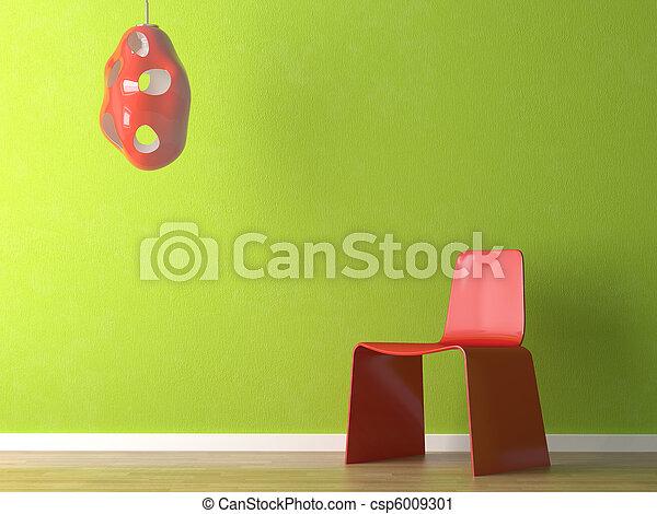 壁, デザイン, 内部, 緑の椅子, 赤 - csp6009301
