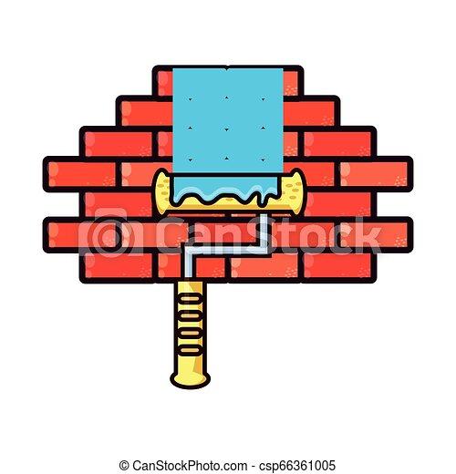 壁, ペンキ, 隔離された, ローラー, アイコン - csp66361005