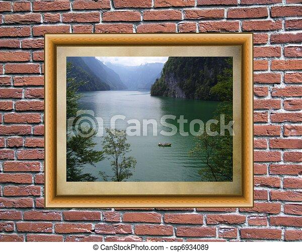 壁, 写真フレーム, れんが - csp6934089