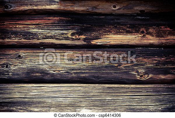 壁, 古い, 木材を伐採する - csp6414306