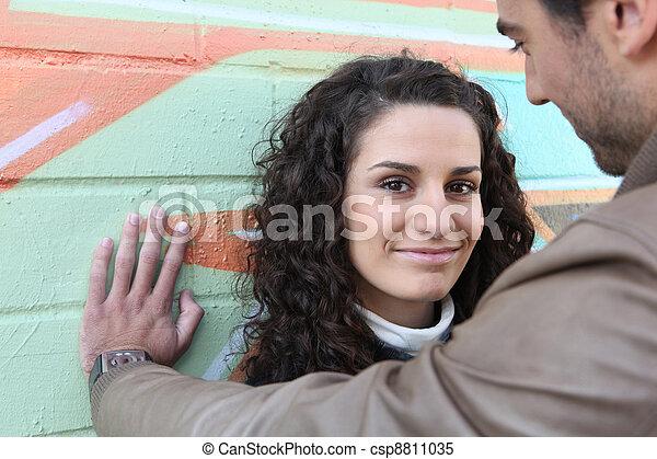 壁, 恋人, 立った, あだっぽい - csp8811035