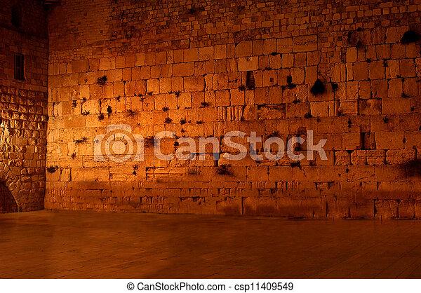 壁, 泣き叫ぶ, kotel, 西部, 夜, 空 - csp11409549