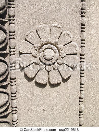 壁, 石, 花, 刻まれた - csp2219518