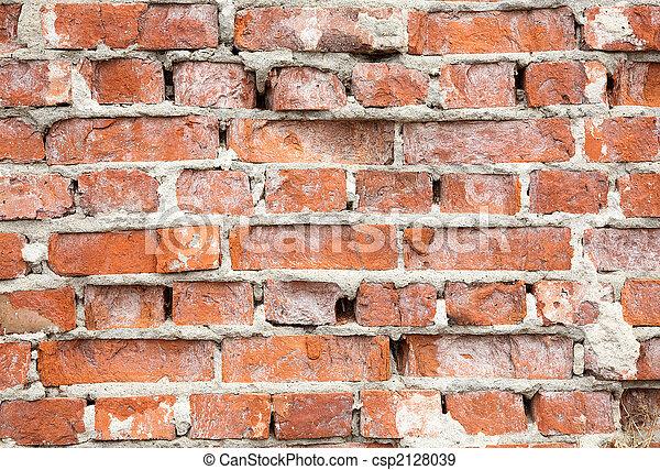 壁, 破壊された, れんが, 赤い背景 - csp2128039