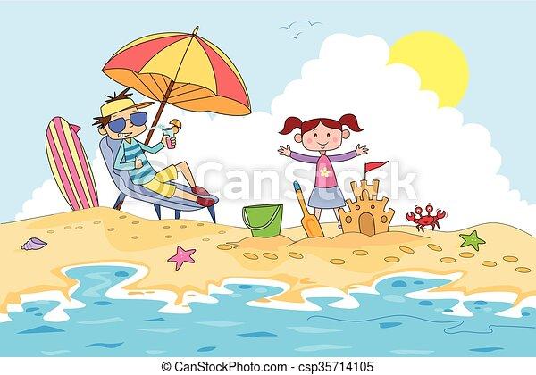 夏の 子供, キャンプ, 砂, 作成, 城 - csp35714105