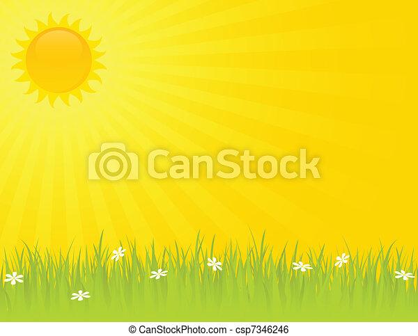 夏天, 陽光充足的日 - csp7346246