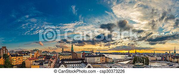 夏天, 風景, 全景, 斯德哥爾摩, 瑞典, 夜晚 - csp30373226