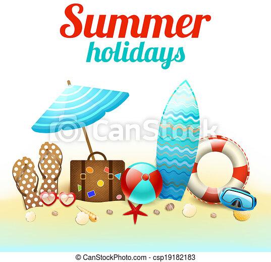 夏季休暇, 背景, ポスター - csp19182183