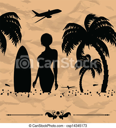 夏季休暇, 要素, デザイン, カード - csp14345173