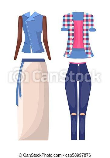 夏 イラスト ジャケット ベクトル モード スカート 夏 女性
