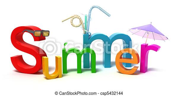夏, カラフルである, 単語, 手紙 - csp5432144