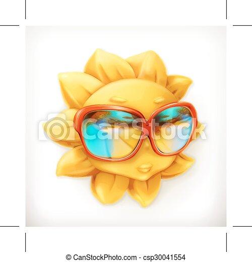 夏, サングラス, 太陽 - csp30041554