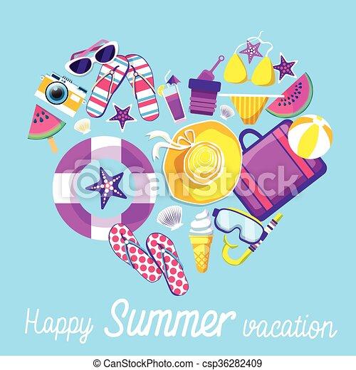 夏, セット, 浜の 休暇, トロピカル, 砂, 旗 - csp36282409