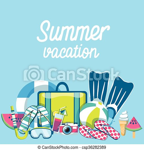 夏, セット, 浜の 休暇, トロピカル, 砂, 旗 - csp36282389