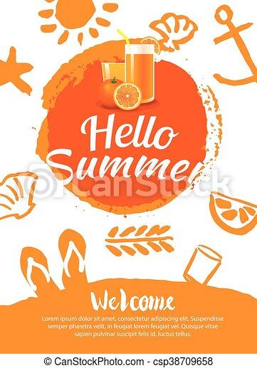 夏, テンプレート, ポスター, 背景, パーティー, 浜, こんにちは - csp38709658