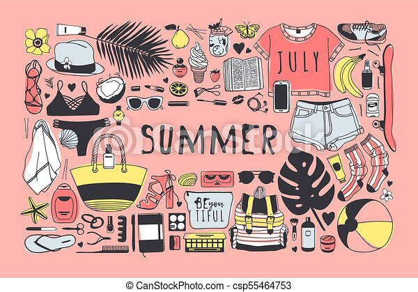 夏, ファッション, 芸術, work., drawing., pattern., doddle, イラスト, 手, トロピカル, バックグラウンド。, ベクトル, 芸術的, インク, 引かれる, オブジェクト, 創造的, 季節 - csp55464753