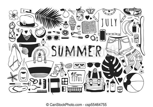 夏, ファッション, 芸術, work., drawing., pattern., doddle, イラスト, 手, トロピカル, バックグラウンド。, ベクトル, 芸術的, インク, 引かれる, オブジェクト, 創造的, 季節 - csp55464755