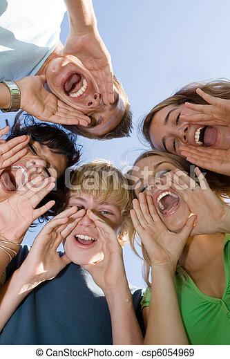夏, 十代の若者たち, キャンプ, グループ, 幸せ - csp6054969