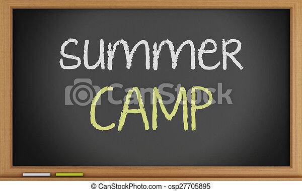 夏, 書かれた, キャンプ, blackboard. - csp27705895