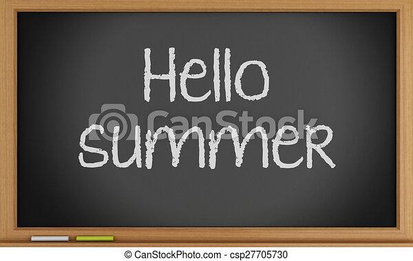 夏, 書かれた, blackboard., こんにちは - csp27705730