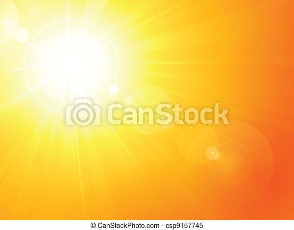 夏, 活気に満ちた, 火炎信号, レンズ, 暑い, 太陽 - csp9157745