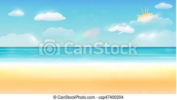 夏, 海, 空, 明るい, 砂, 背景, 浜 - csp47400204