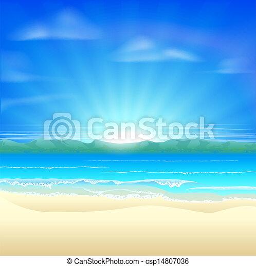 夏, 砂ビーチ, 背景 - csp14807036