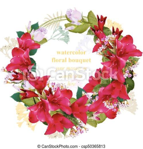 夏 Card 美しさ 花束 型 フレーム 花輪 イラスト ベクトル