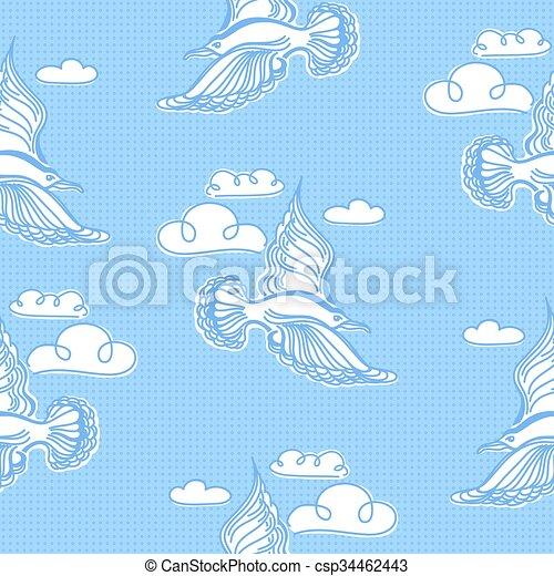 夏 Pattern Seamless イラスト 海 かもめ 鳥 壁紙 夏 使われた 海 織物 空 Pattern Seamless イラスト かもめ 背景 鳥 Waves