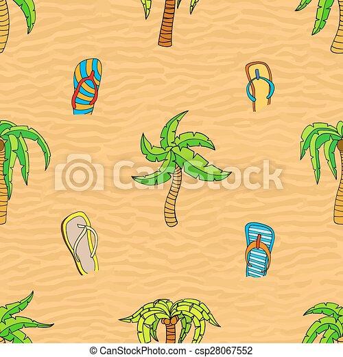 夏, seamless, 関係した, パターン - csp28067552