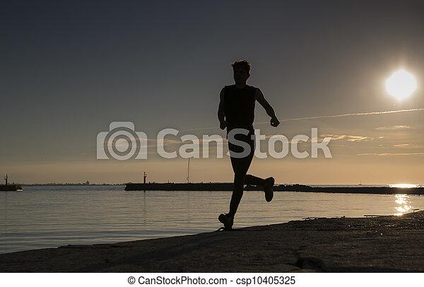 夕方, 操業, スポーツマン, 前方へ, 浜, 砂 - csp10405325