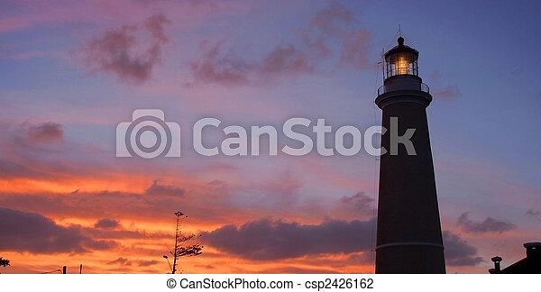 夕闇, 灯台, este, del, punta - csp2426162