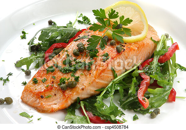 夕食, 鮭 - csp4508784
