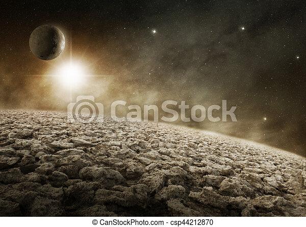 外宇宙, イラスト, 惑星, 砂漠, ...