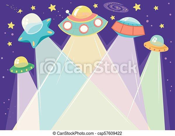 外宇宙 船 イラスト Ufo に向かって 光を発する 中心 Ufo