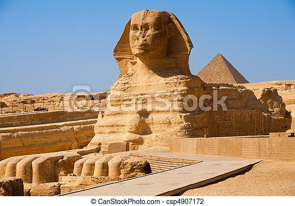 外形, 充足, 狮身人面像, eg, giza, 金字塔 - csp4907172