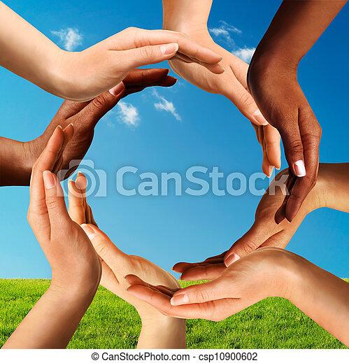 多人種である, 作成, 円, 一緒に, 手 - csp10900602