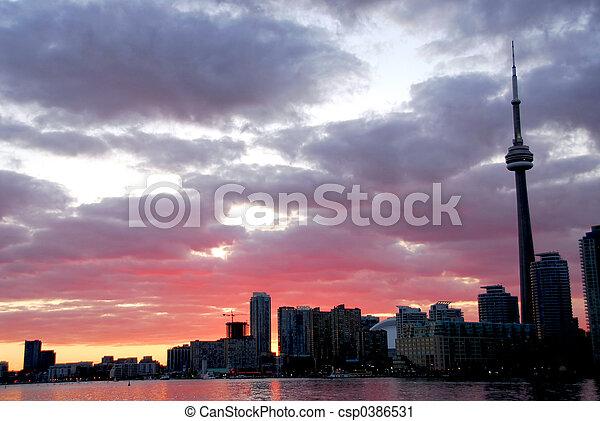 多伦多, 城市地平线, 日落