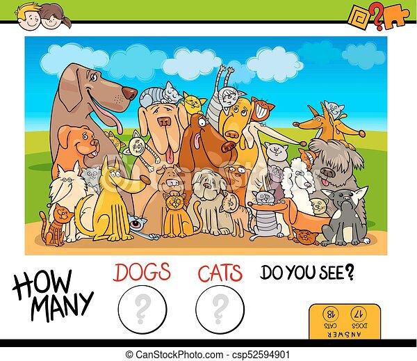 多数, いかに, ゲーム, ネコ, 数える, 犬 - csp52594901