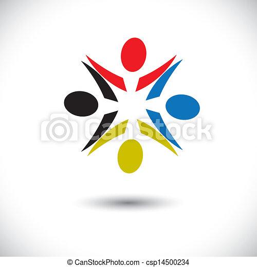 多様性, 労働者, 抽象的, &, 子供, graphic-, ショー, 概念, 共有, 子供, 概念, 共同体, ベクトル, icons(symbols)., 遊び, 従業員, のように, カラフルである, 共用体, イラスト, 友情, ∥など∥, 幸せ - csp14500234