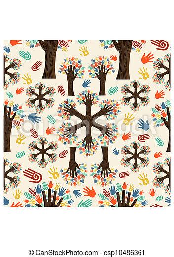 多様性, 手, 木, パターン - csp10486361