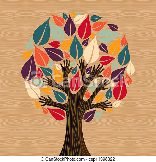 多様性, 抽象的, 木, 手 - csp11398322