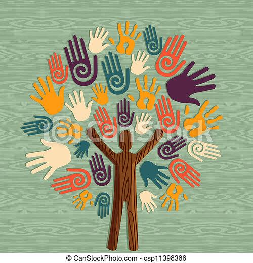 多様性, 木, 人間の術中 - csp11398386